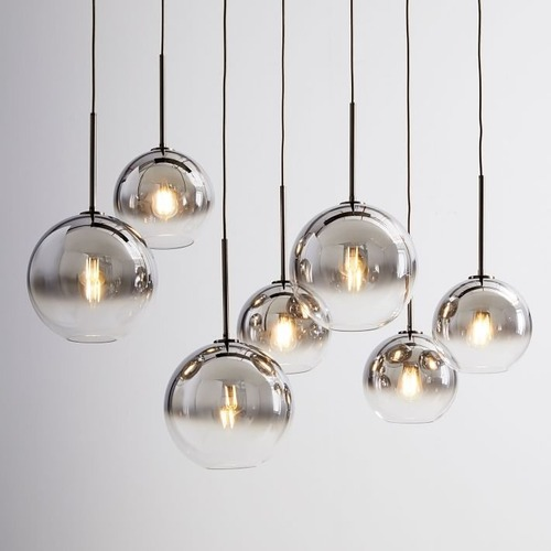 Used West Elm Sculptural Glass 7-Light Linear Chandelier for sale on AptDeco