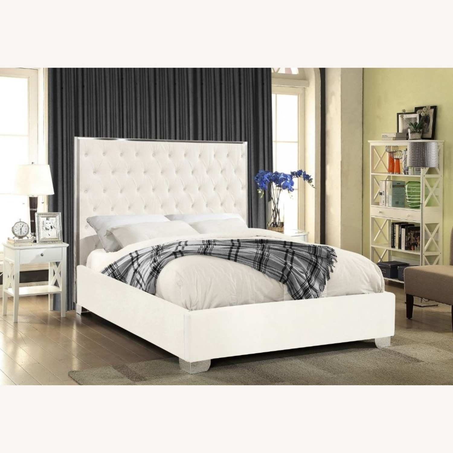 Wayfair Queen White Upholstered Platform Bed - image-1