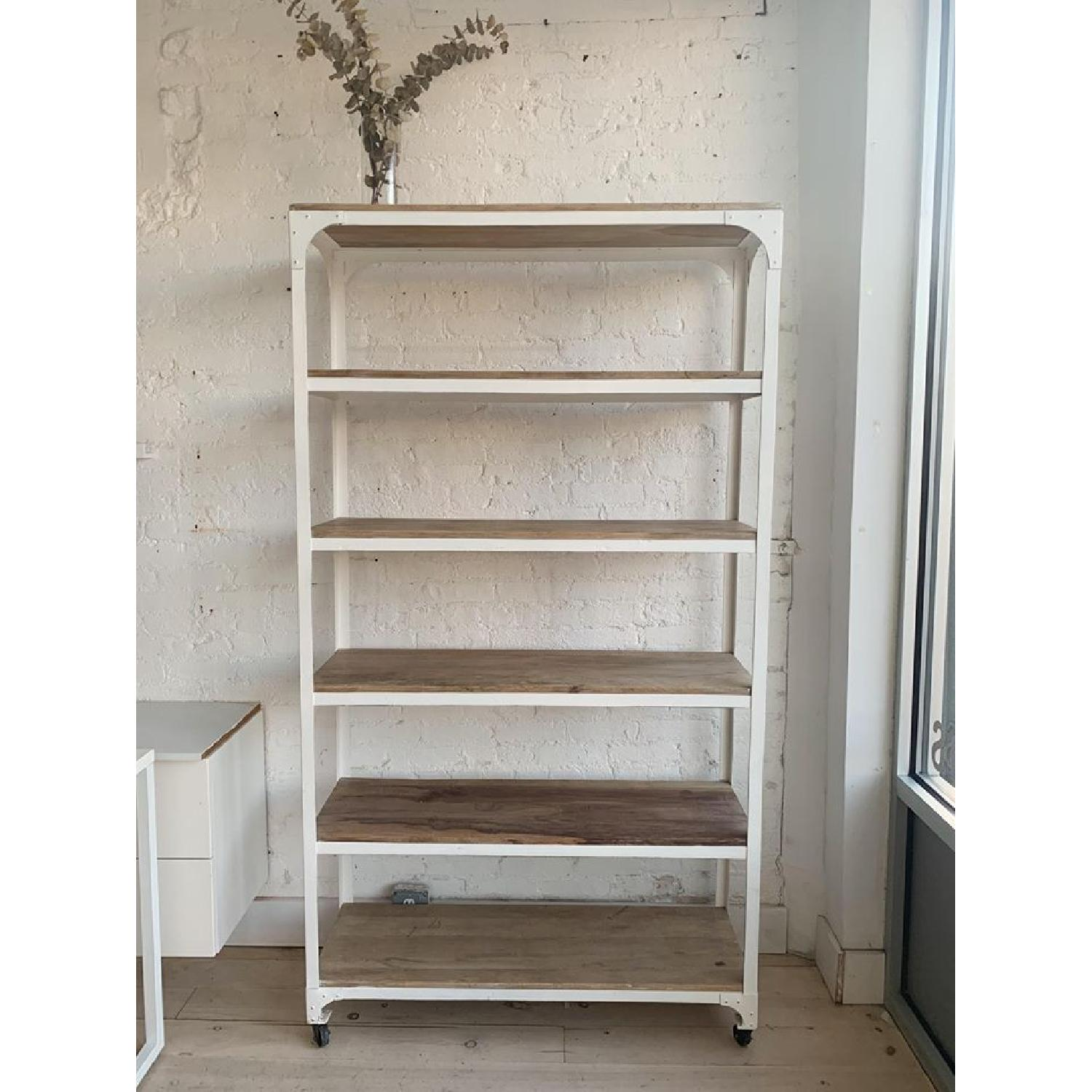 Whitewashed Wood and Metal Shelving Unit - Two Available - image-0