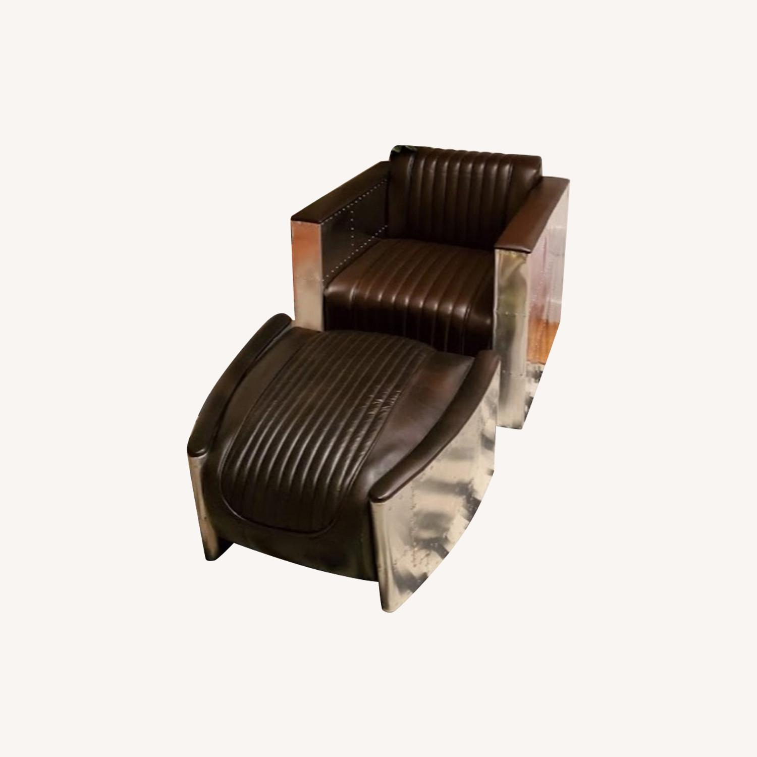 Restoration Hardware Aviator Leather Ottoman - image-0