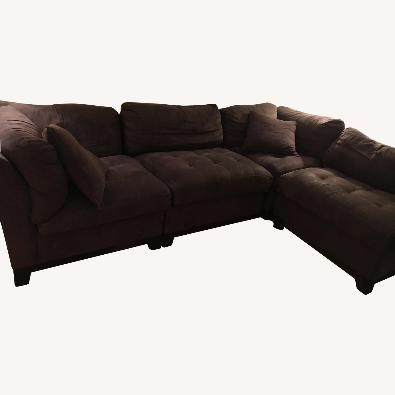 Eggplant colored 4 seater sectional - image-0