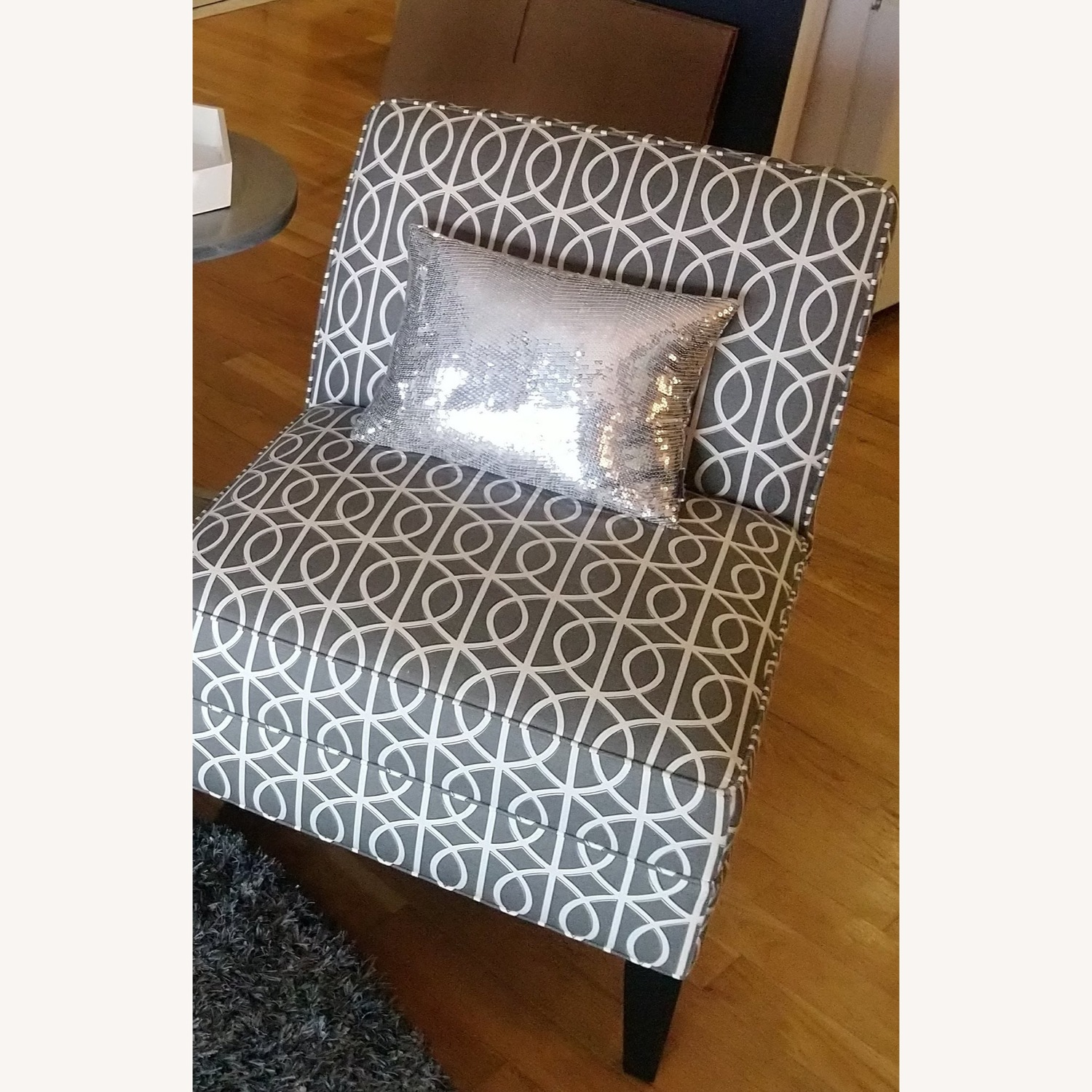 Pair of Gray and White Slipper Chairs