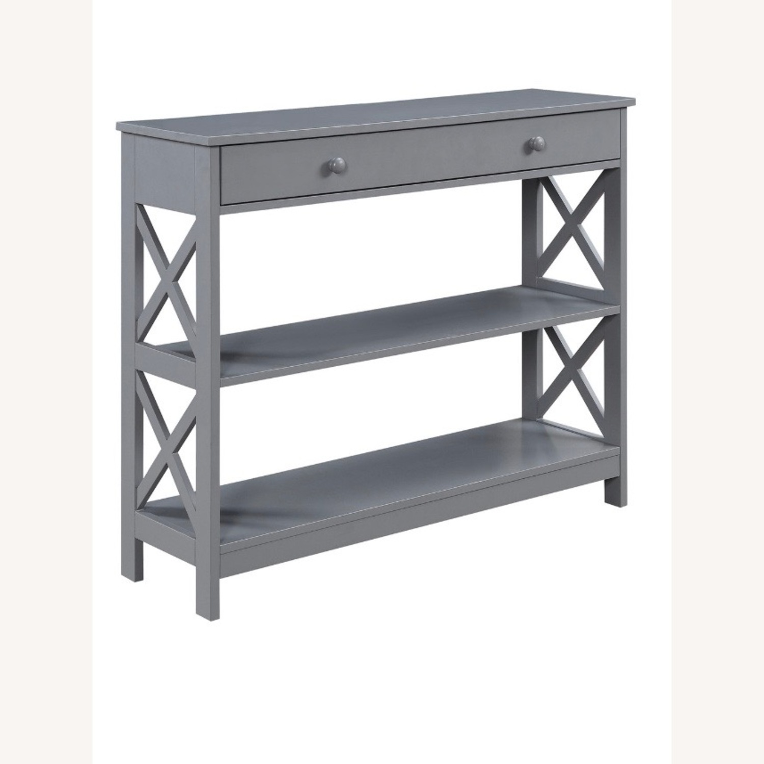 Grey Wood Console Table with Drawers with 4 Bonus Baskets