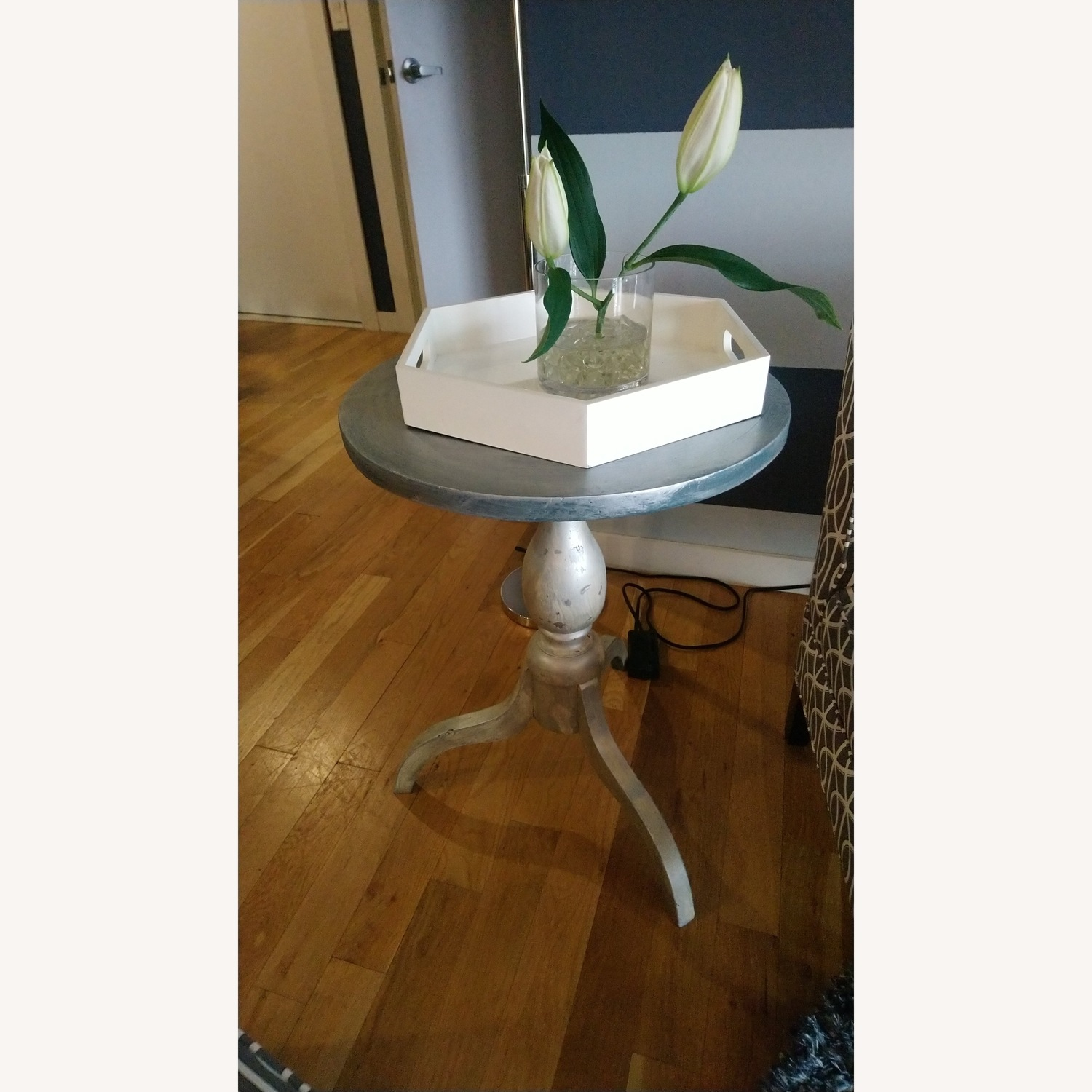 Lovely Small Gray Side Table