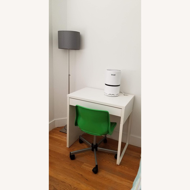 White Ikea Micke Desk + Green Chair - image-2