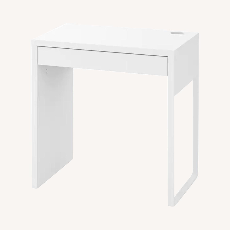 White Ikea Micke Desk + Green Chair - image-0