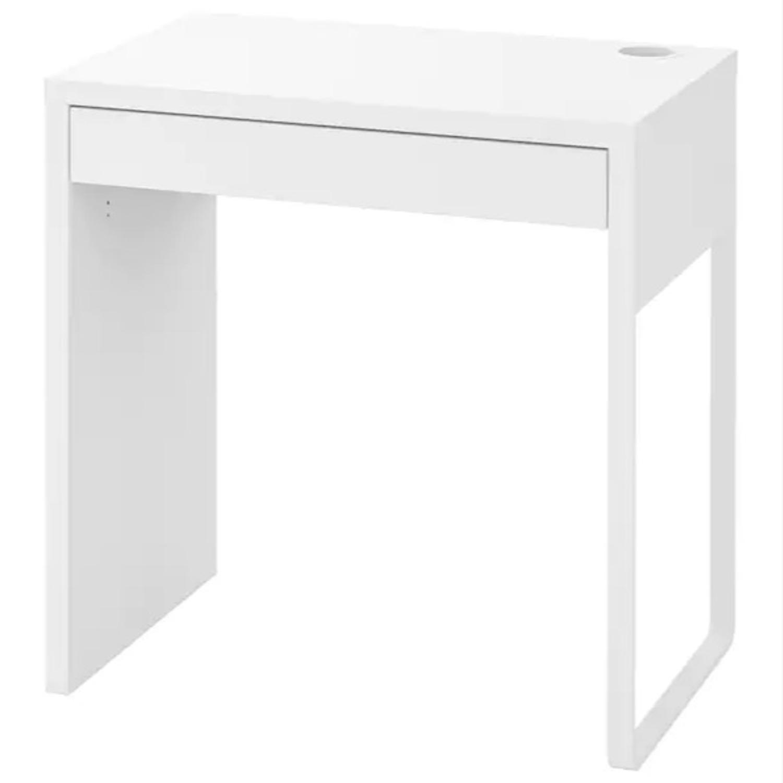 White Ikea Micke Desk + Green Chair - image-1