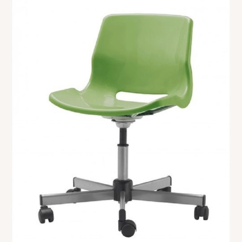 White Ikea Micke Desk + Green Chair - image-3