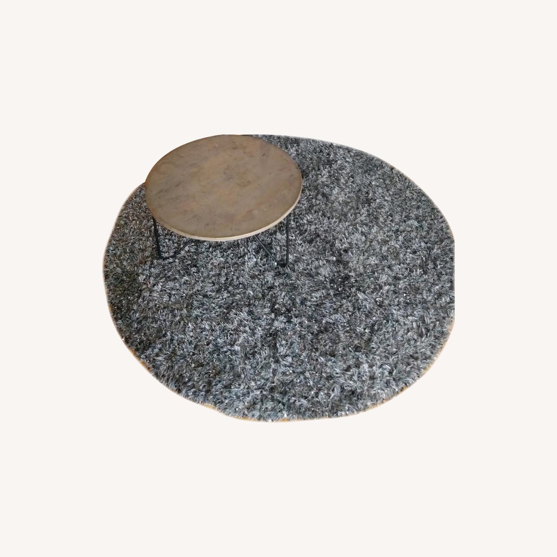 Round Gray Shag Rug - image-0