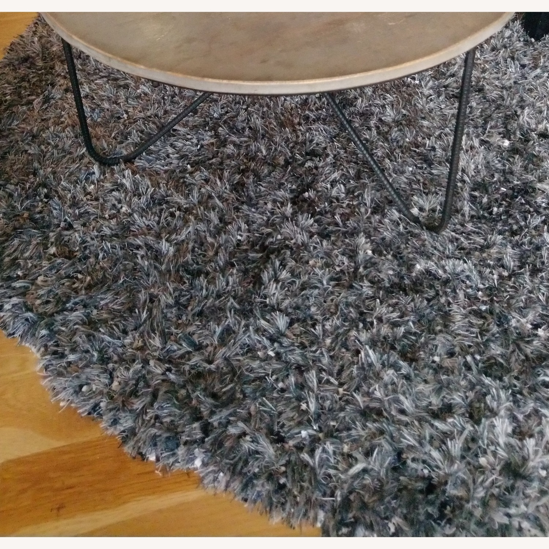 Round Gray Shag Rug - image-3