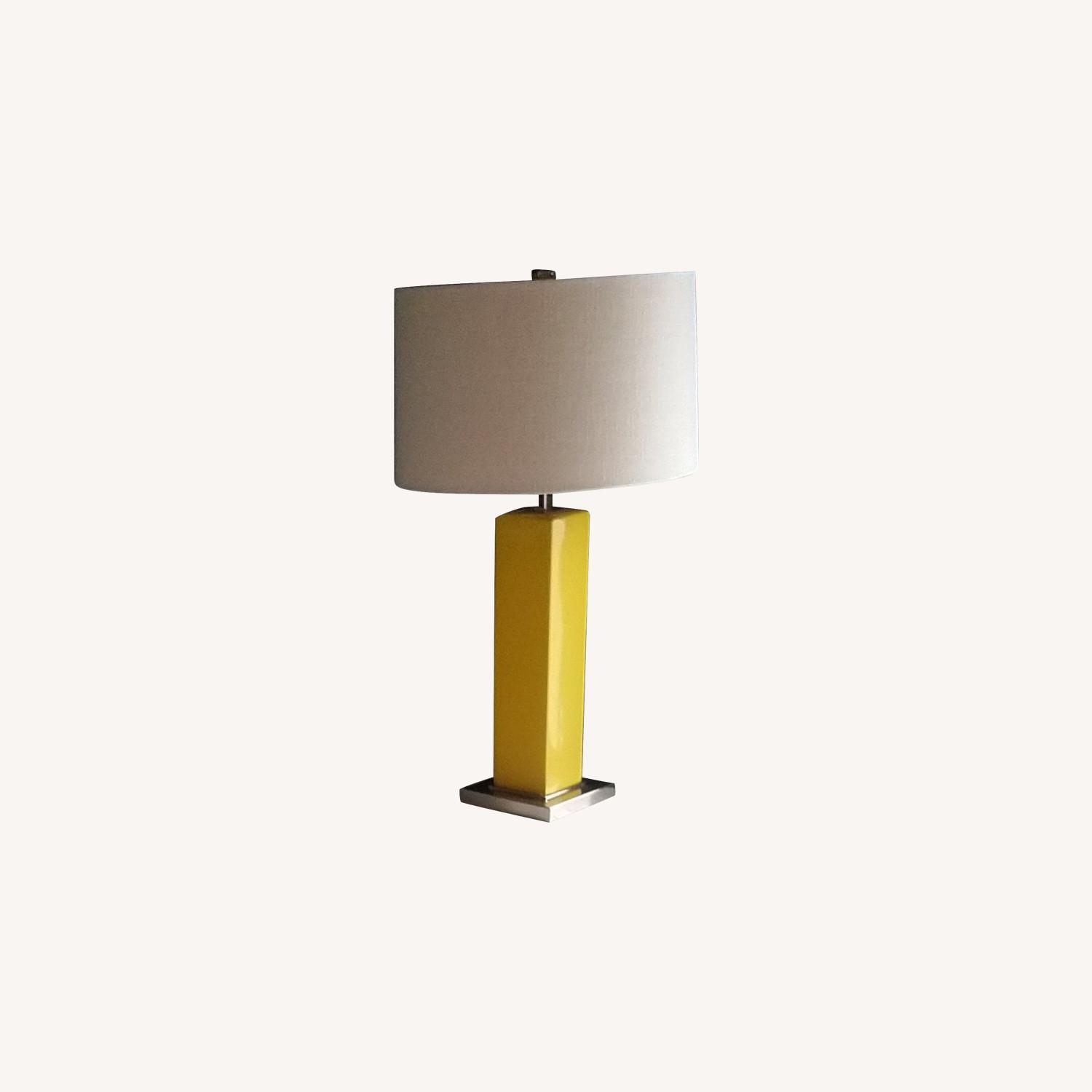 Simple Yellow Table Lamp with Square Base - image-0