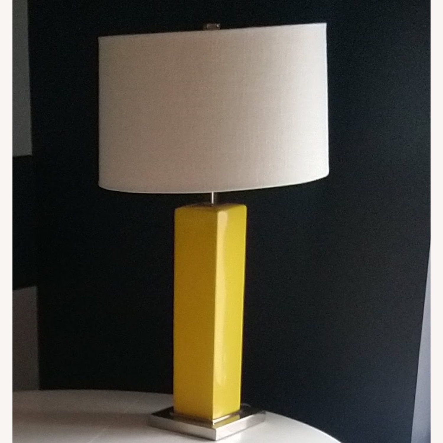 Simple Yellow Table Lamp with Square Base - image-1