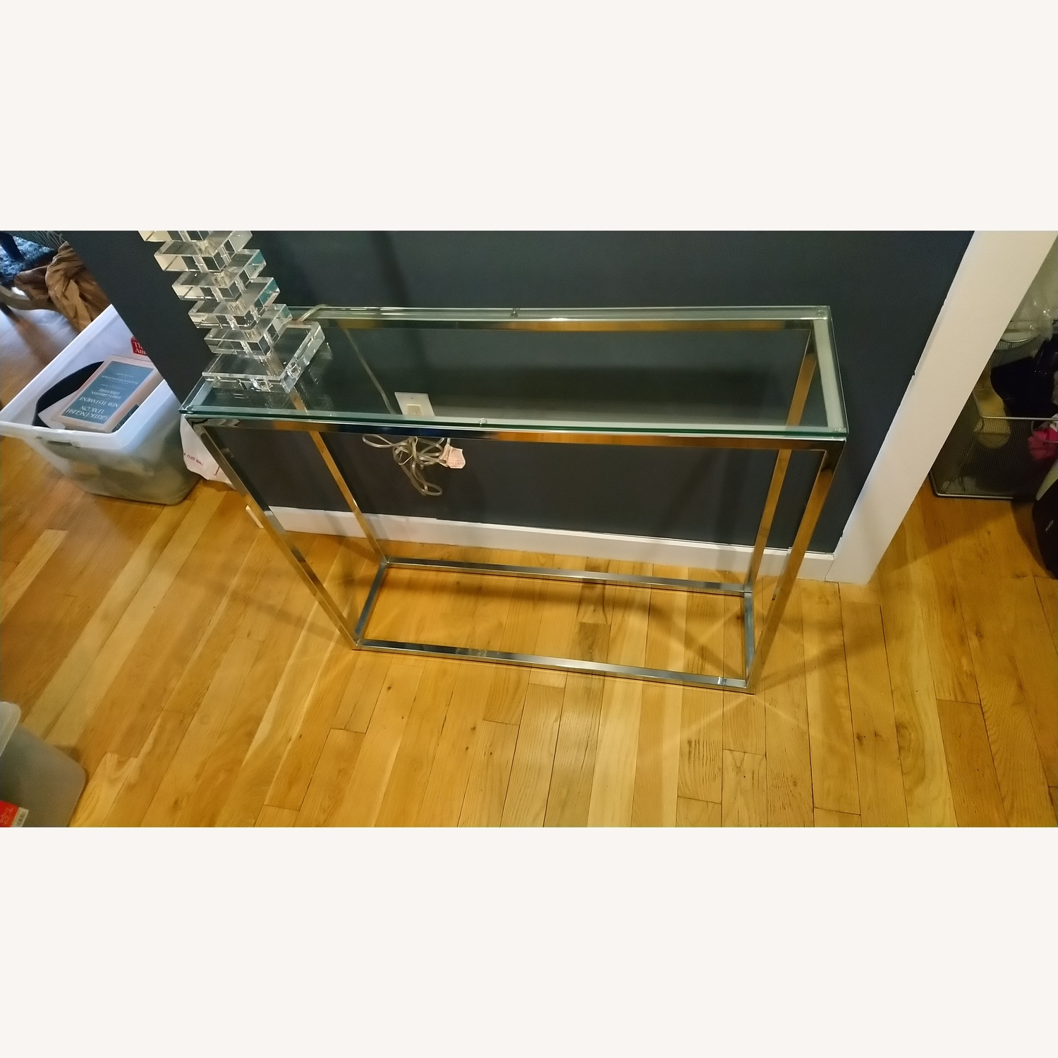 Glass and Silver Metal Console Table - image-2