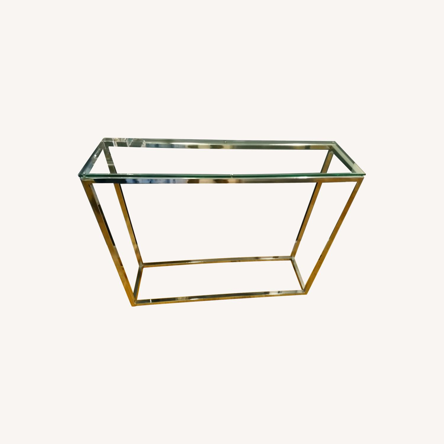 Glass and Silver Metal Console Table - image-0