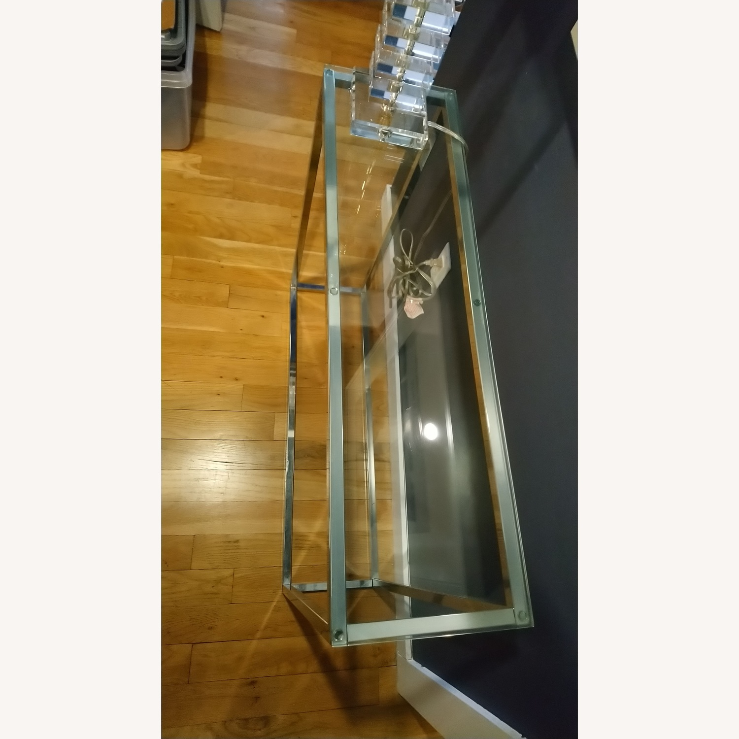 Glass and Silver Metal Console Table - image-3