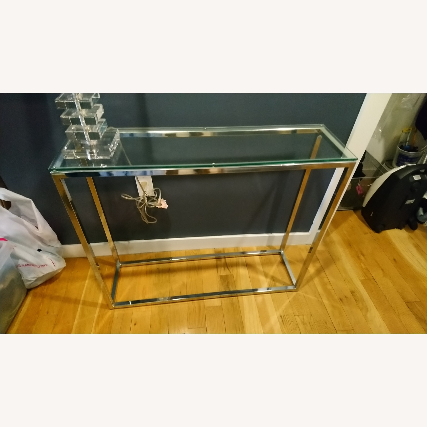 Glass and Silver Metal Console Table