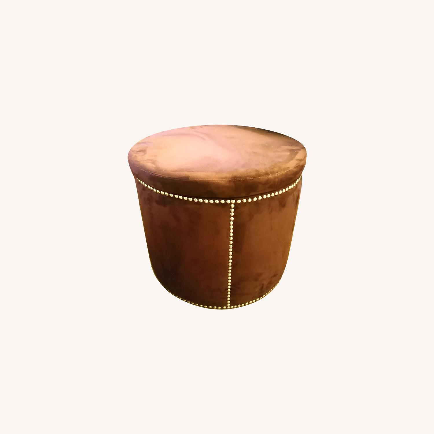 Brown Suede with Silver Tacks Stools - image-0