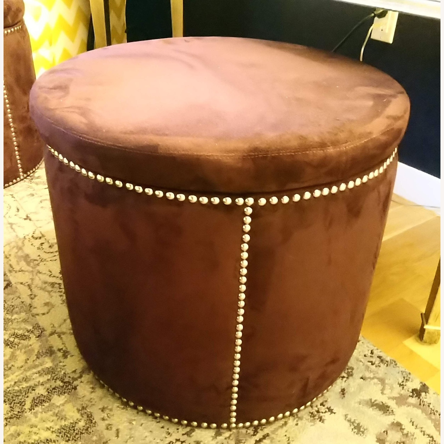 Brown Suede with Silver Tacks Stools - image-1