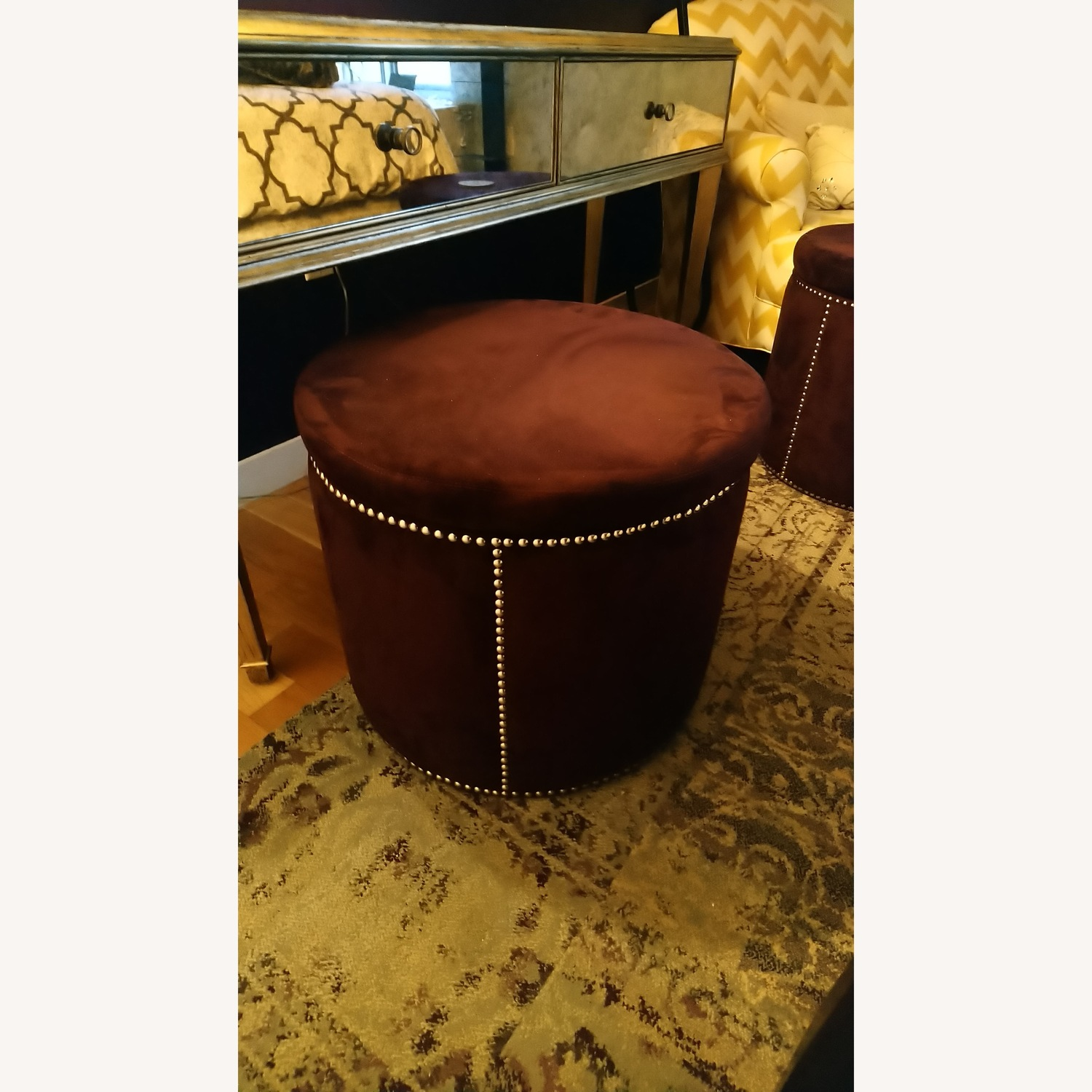 Brown Suede with Silver Tacks Stools - image-3
