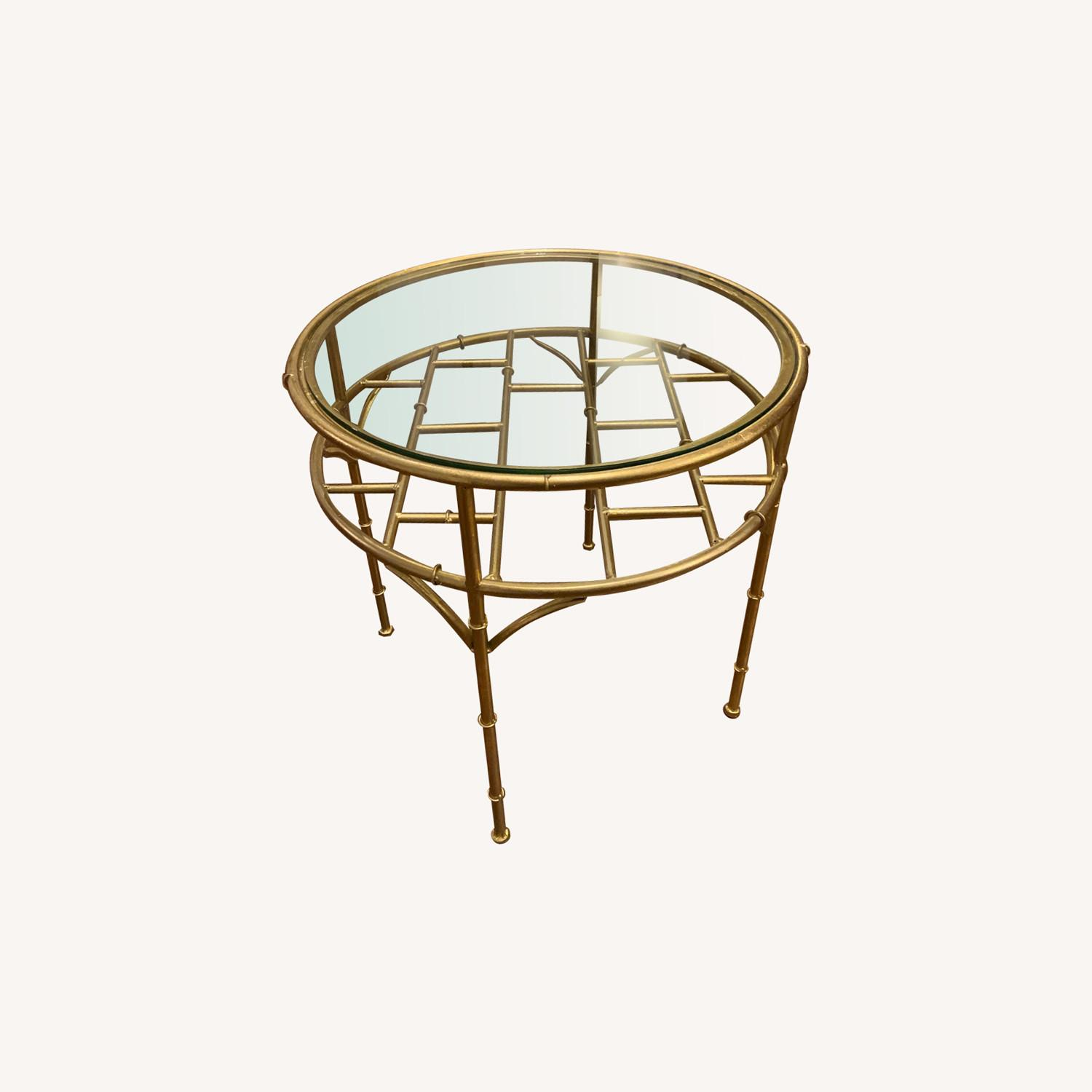 Small Gold/Glass Coffee Table - image-0