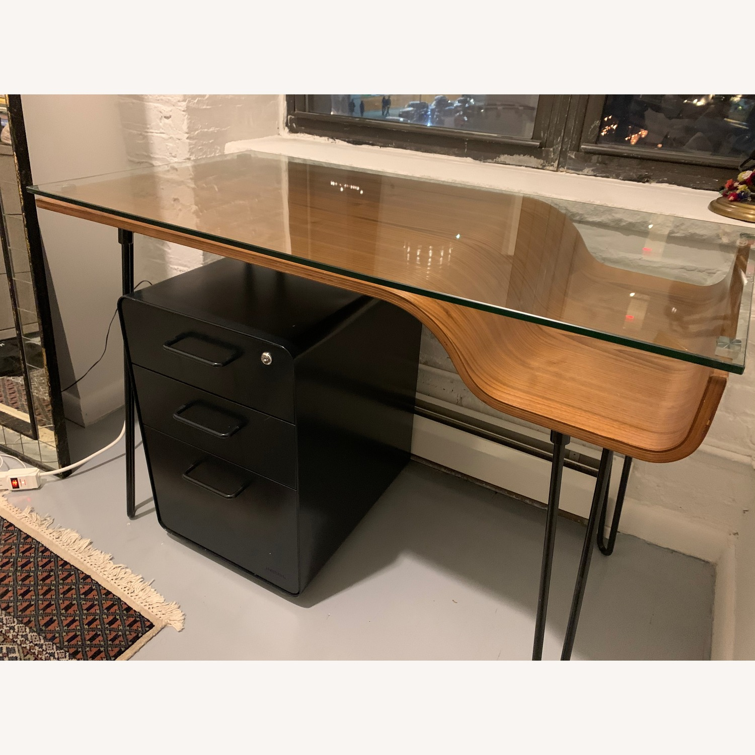 Sleek Wood & Glass Desk - image-2