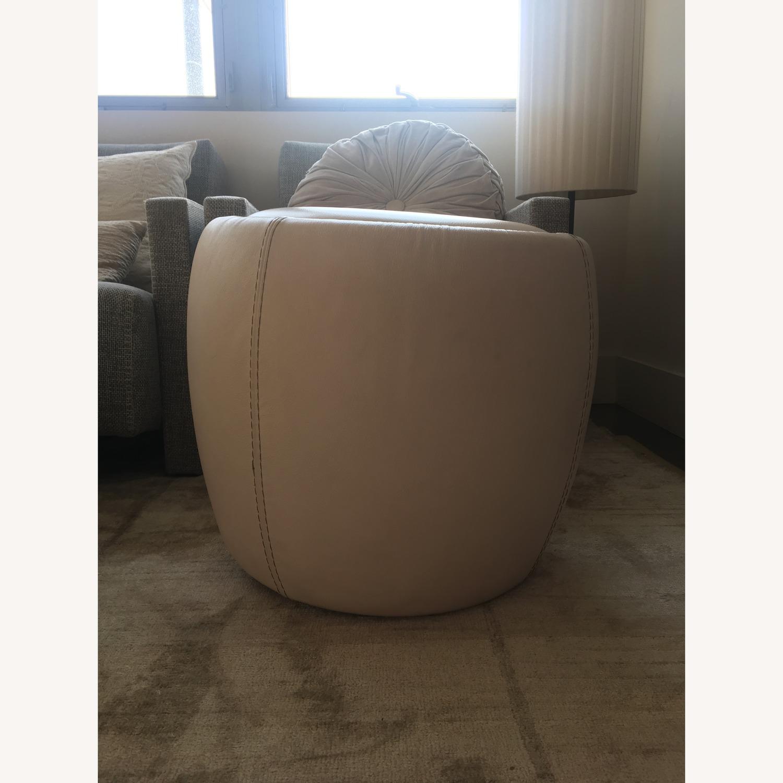 Calligaris Italian Cream Leather Round Storage Ottoman - image-2