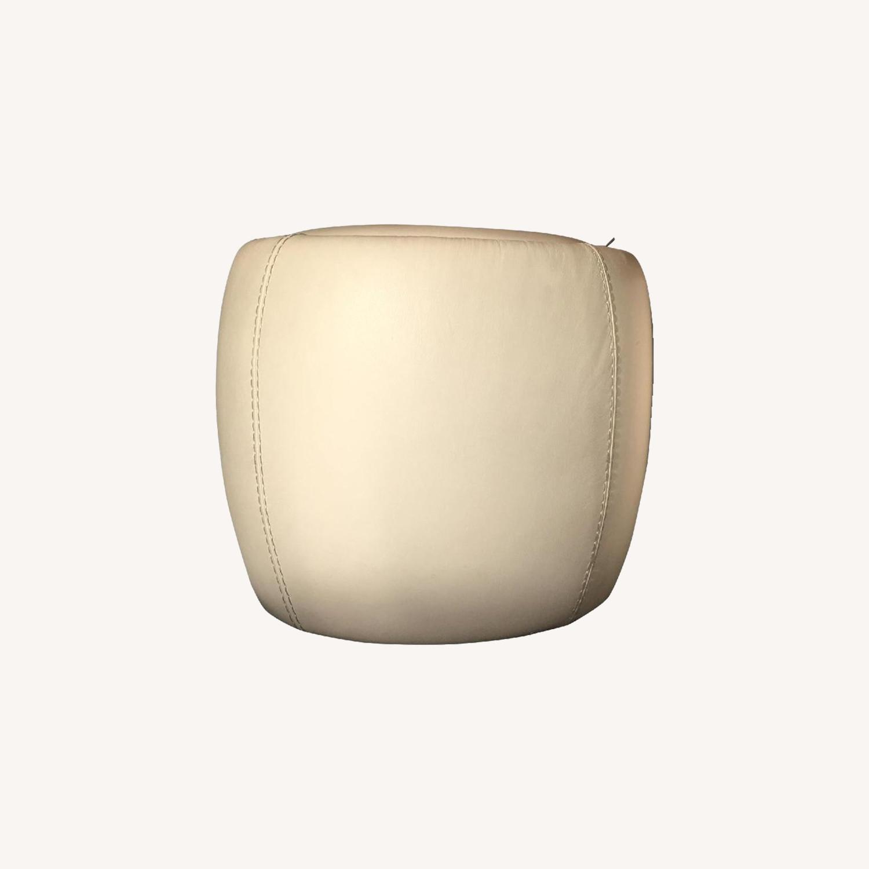 Calligaris Italian Cream Leather Round Storage Ottoman - image-0