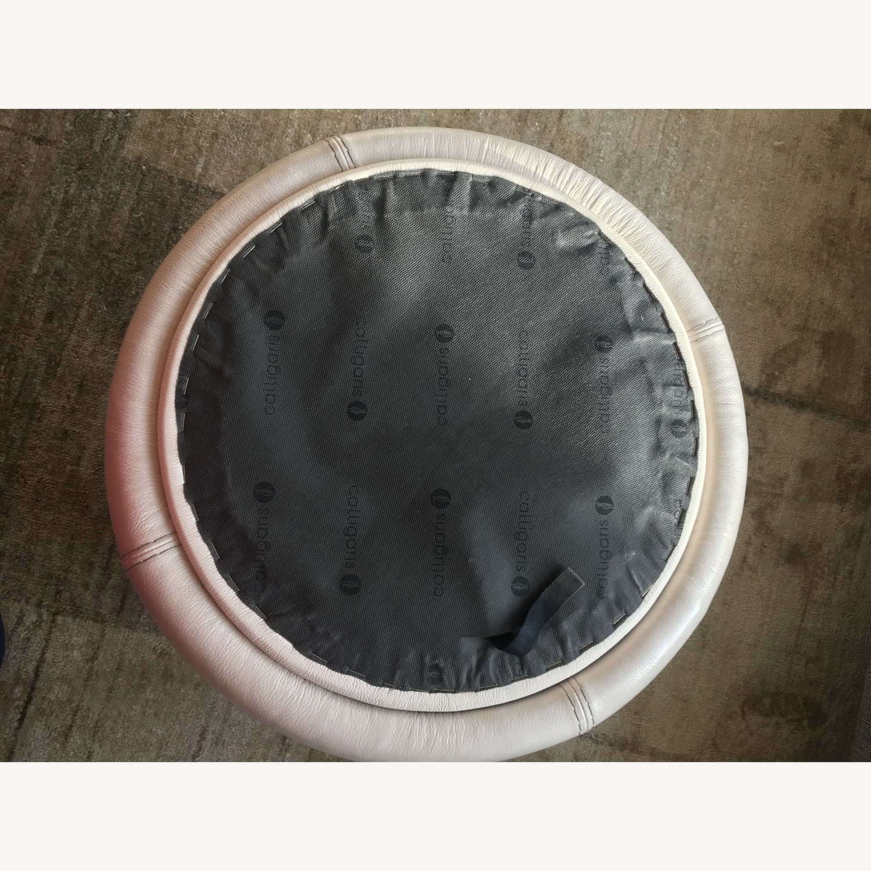 Calligaris Italian Cream Leather Round Storage Ottoman - image-7