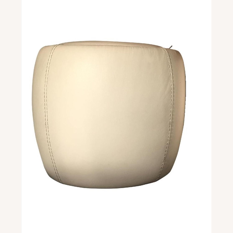 Calligaris Italian Cream Leather Round Storage Ottoman - image-1
