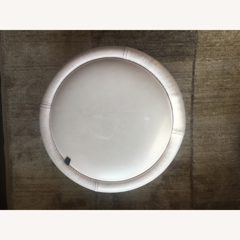 Calligaris Italian Cream Leather Round Storage Ottoman - image-3