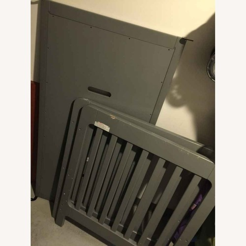 Used Crate & Barrel Convertible Grey Crib/Toddler Bed for sale on AptDeco