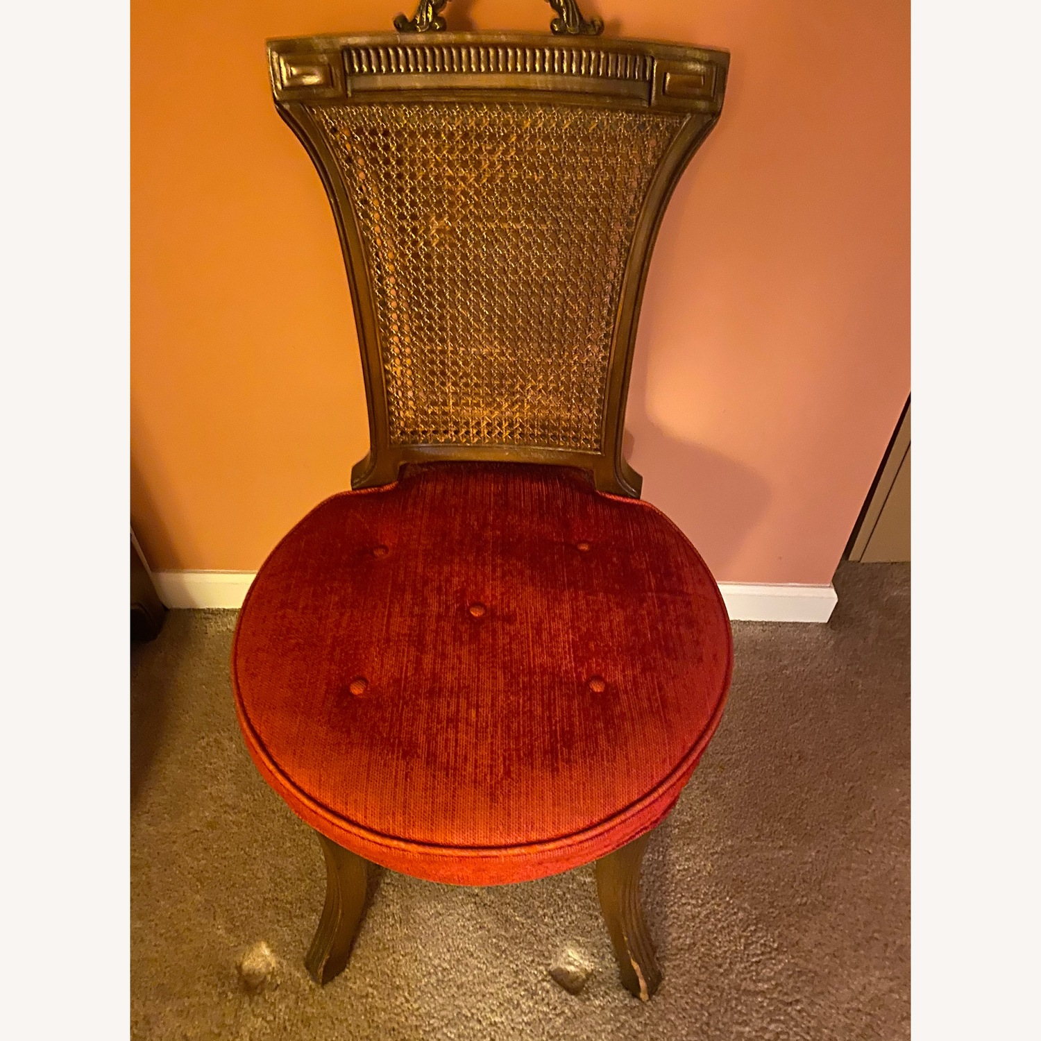 Antique side chair in red - image-1