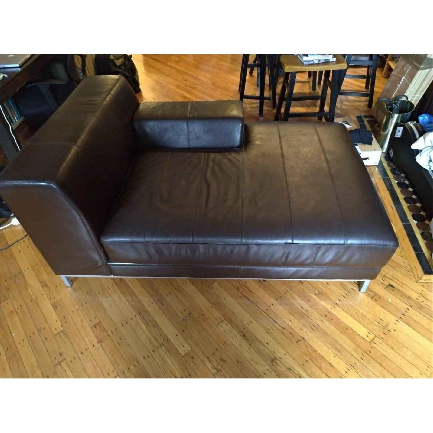 Ikea Kramfors Leather Right Chaise Lounge - image-1