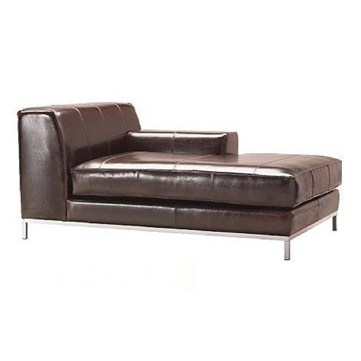Ikea Kramfors Leather Right Chaise Lounge - image-0