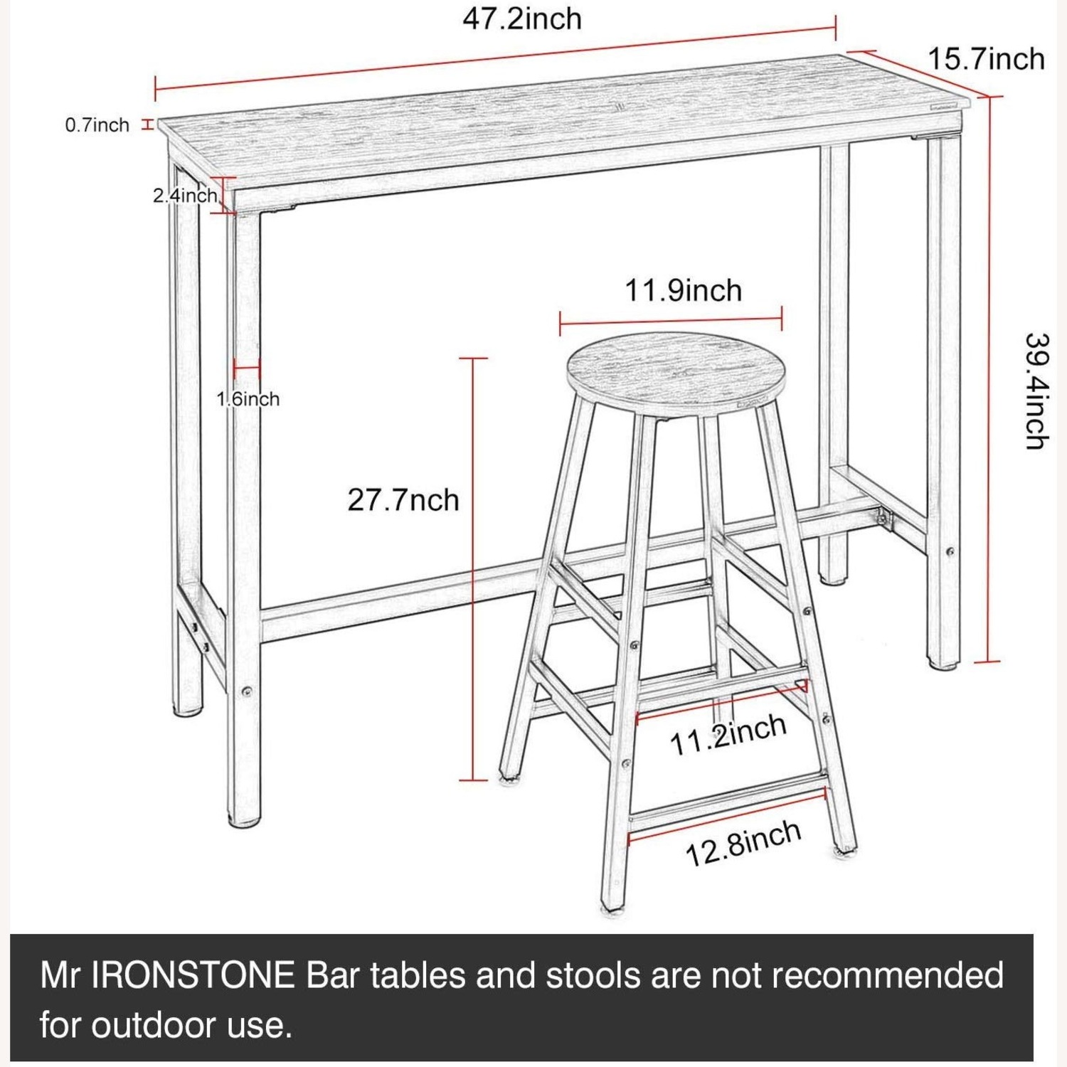 Bar Table with 1 Stool - image-1