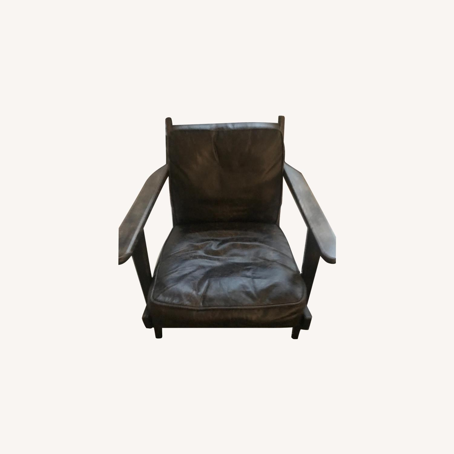 France and Son Lounge Chair - Worn Black Leather - image-0