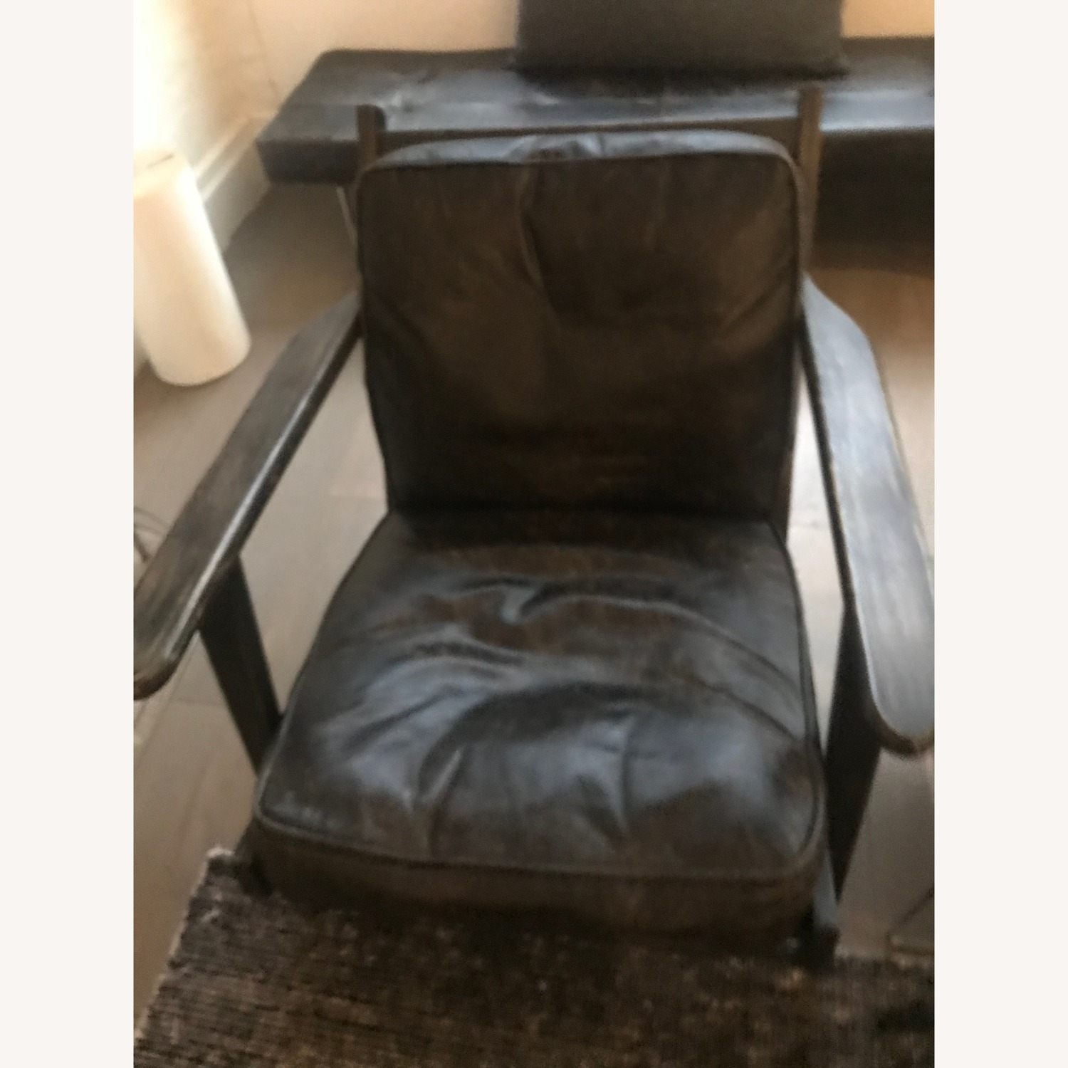 France and Son Lounge Chair - Worn Black Leather - image-1