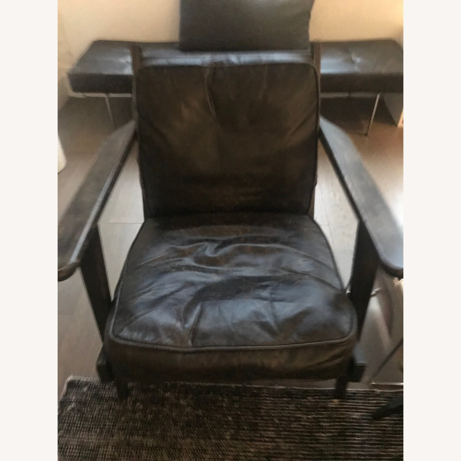 France and Son Lounge Chair - Worn Black Leather - image-2