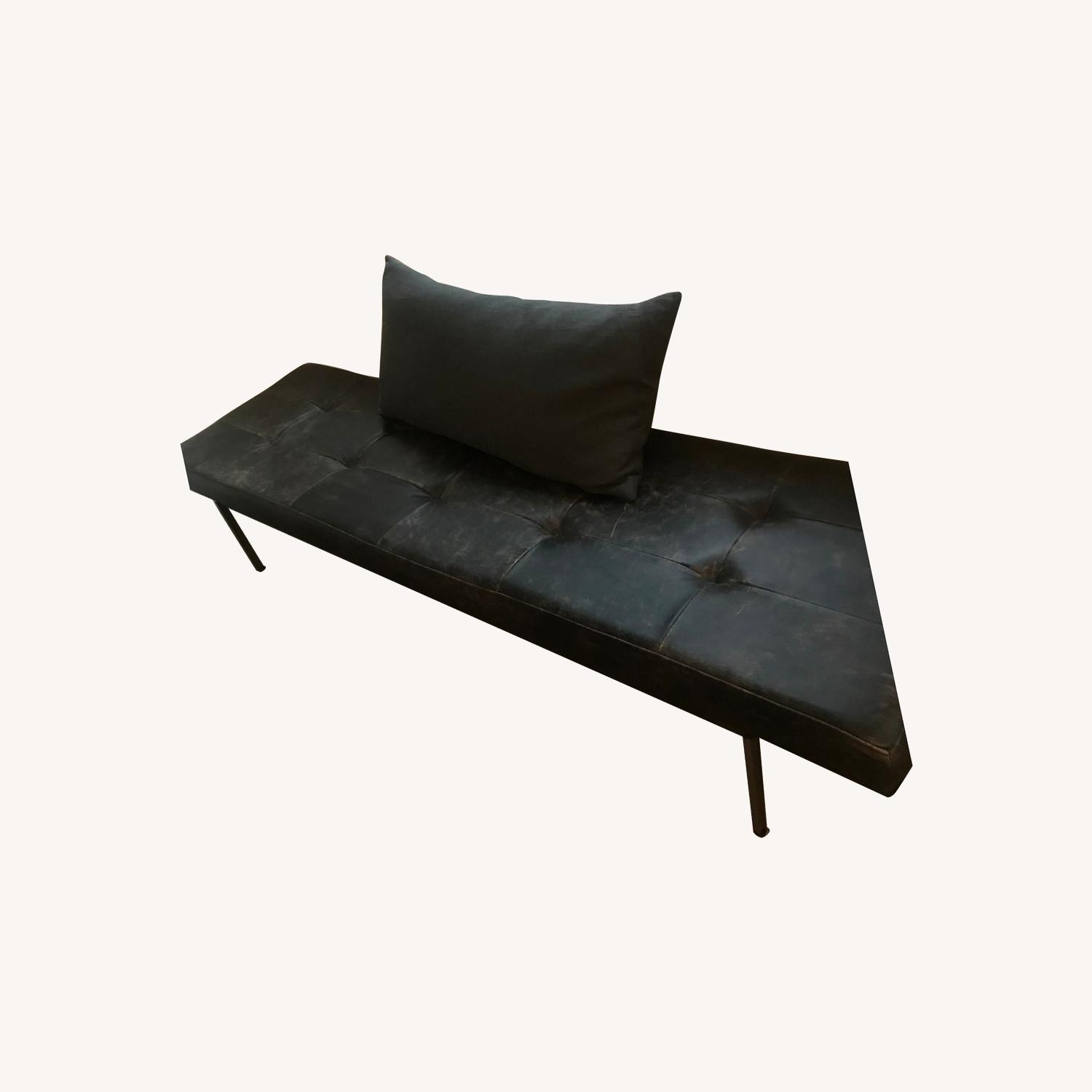 West Elm Leather Bench - image-0