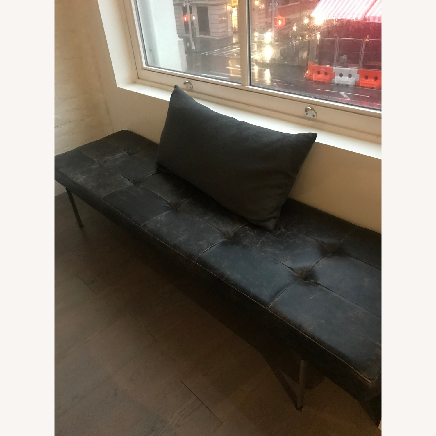 West Elm Leather Bench - image-1