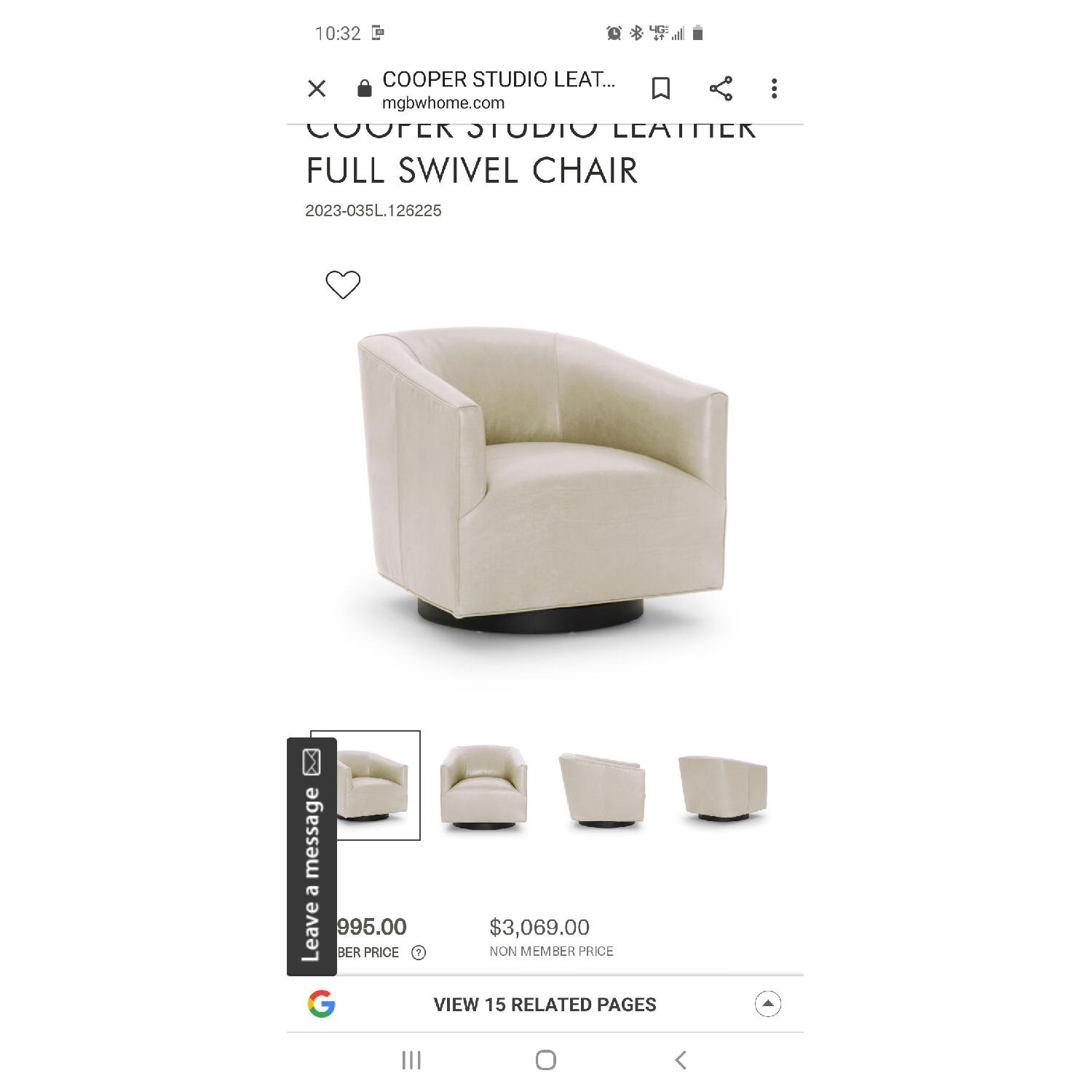 Mitchell Gold ivory leather swivel chair - image-5