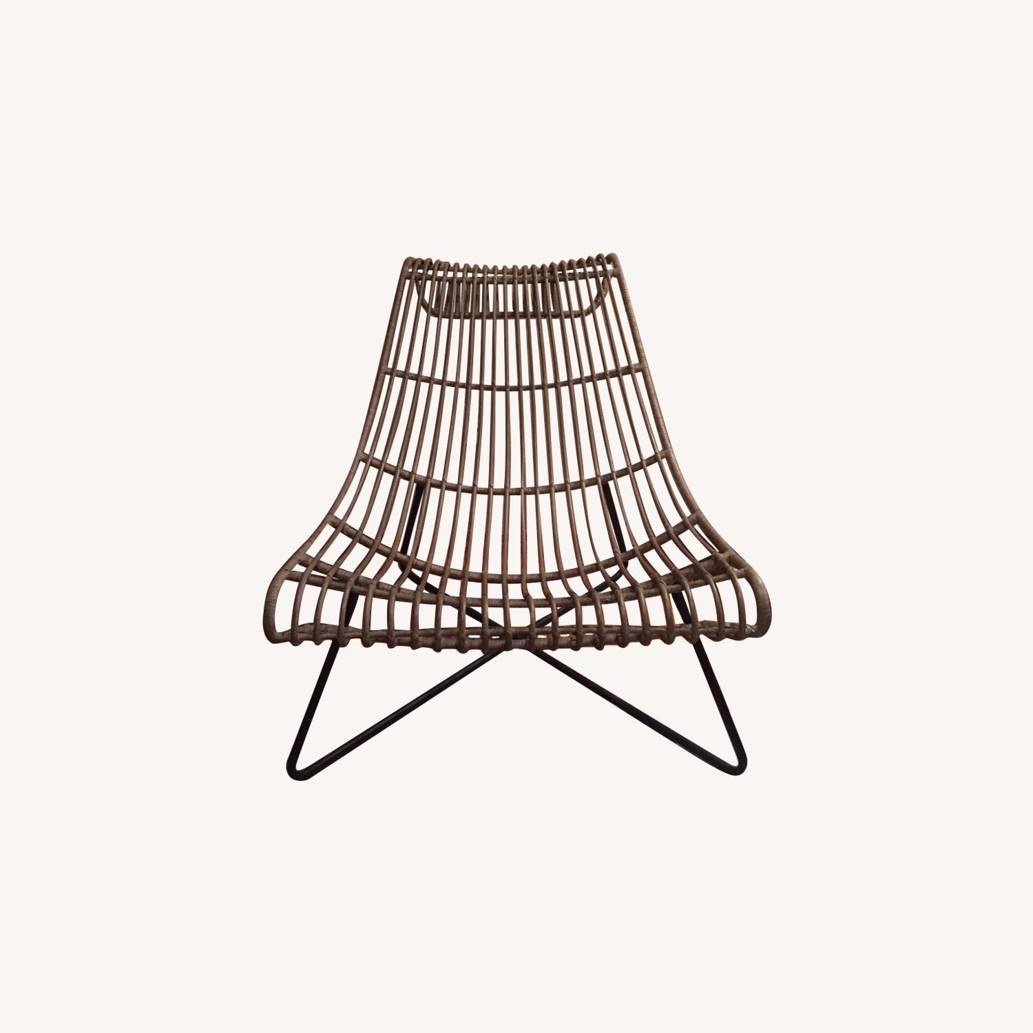 Grey/ Taupe Rattan Lounger Chair - image-0