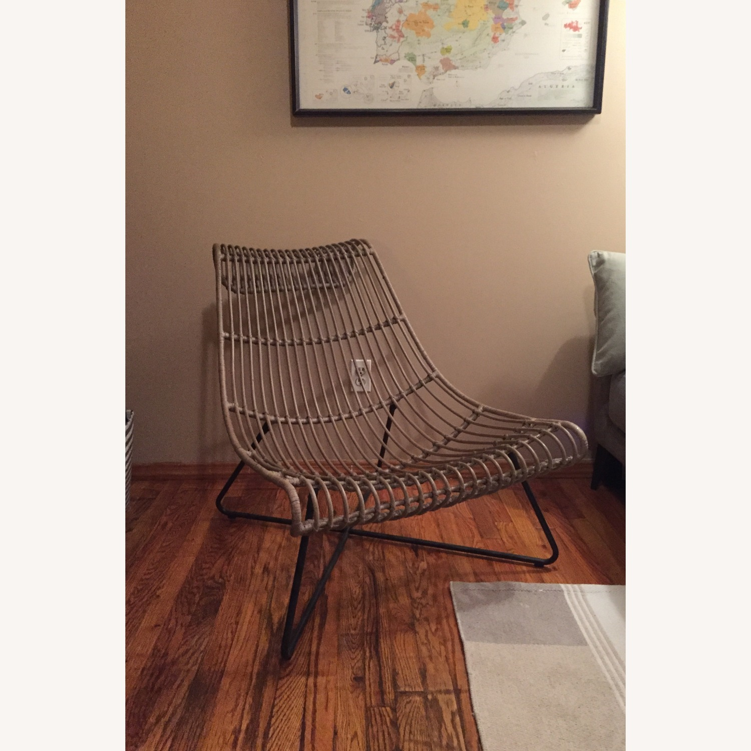 Grey/ Taupe Rattan Lounger Chair - image-1