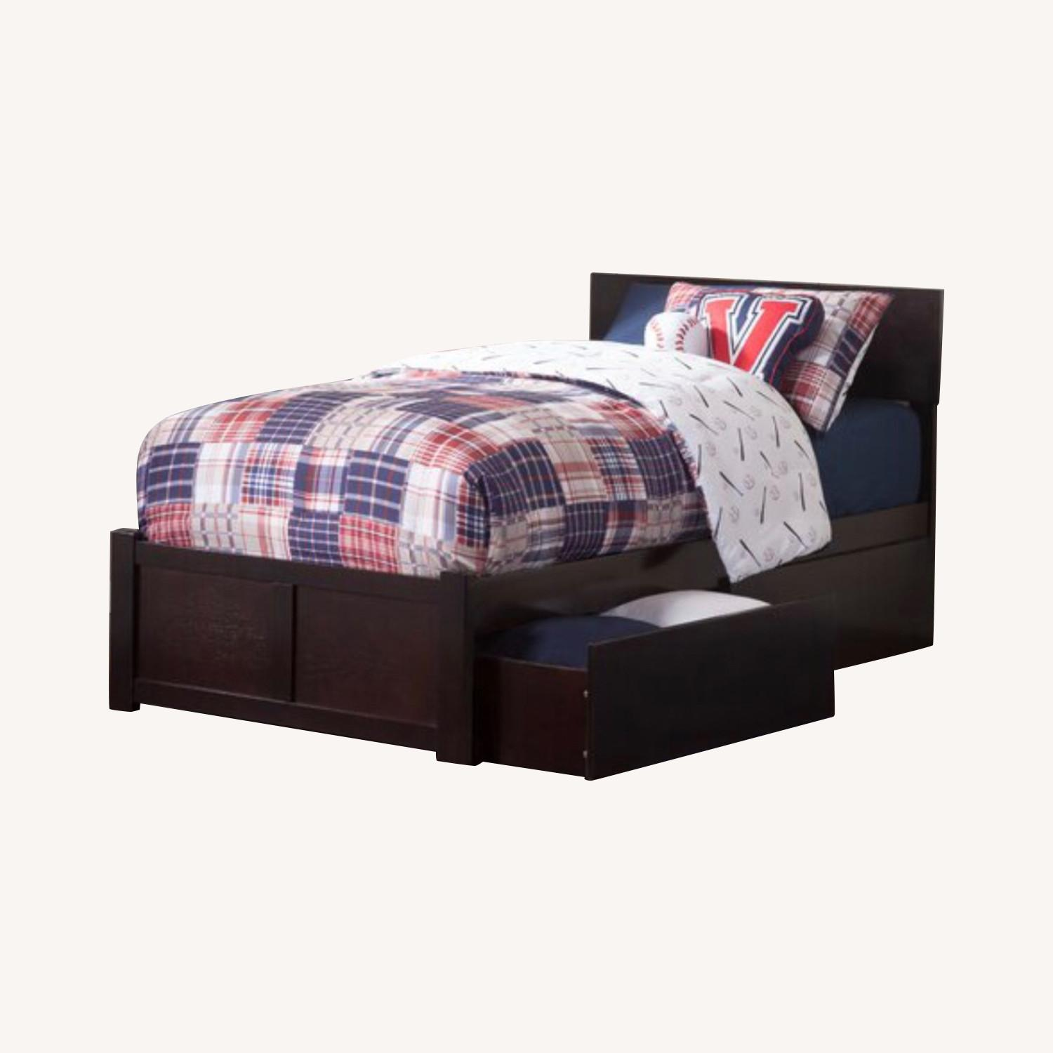 Full size bed in ESPRESSO wood w/drawers or trundle - image-0