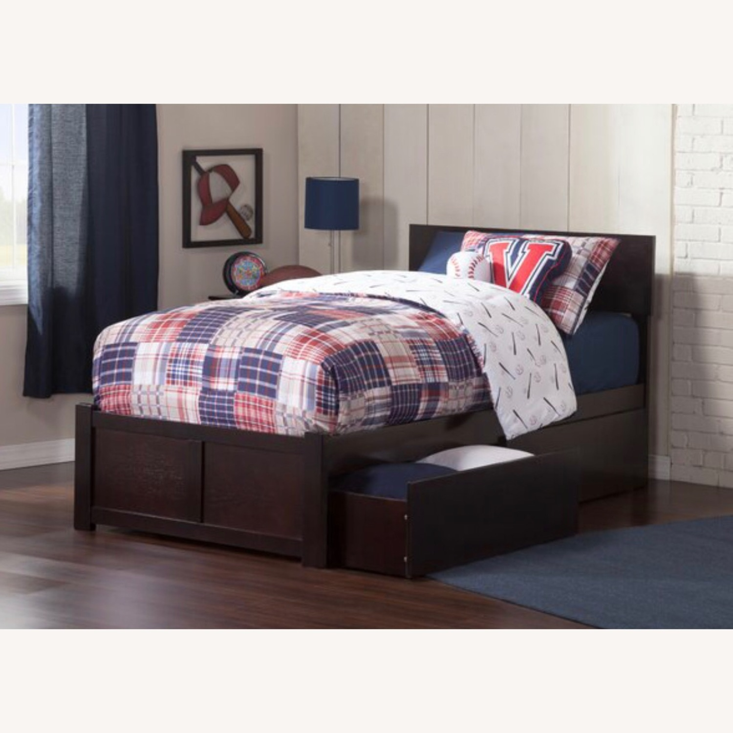 Full size bed in ESPRESSO wood w/drawers or trundle - image-1