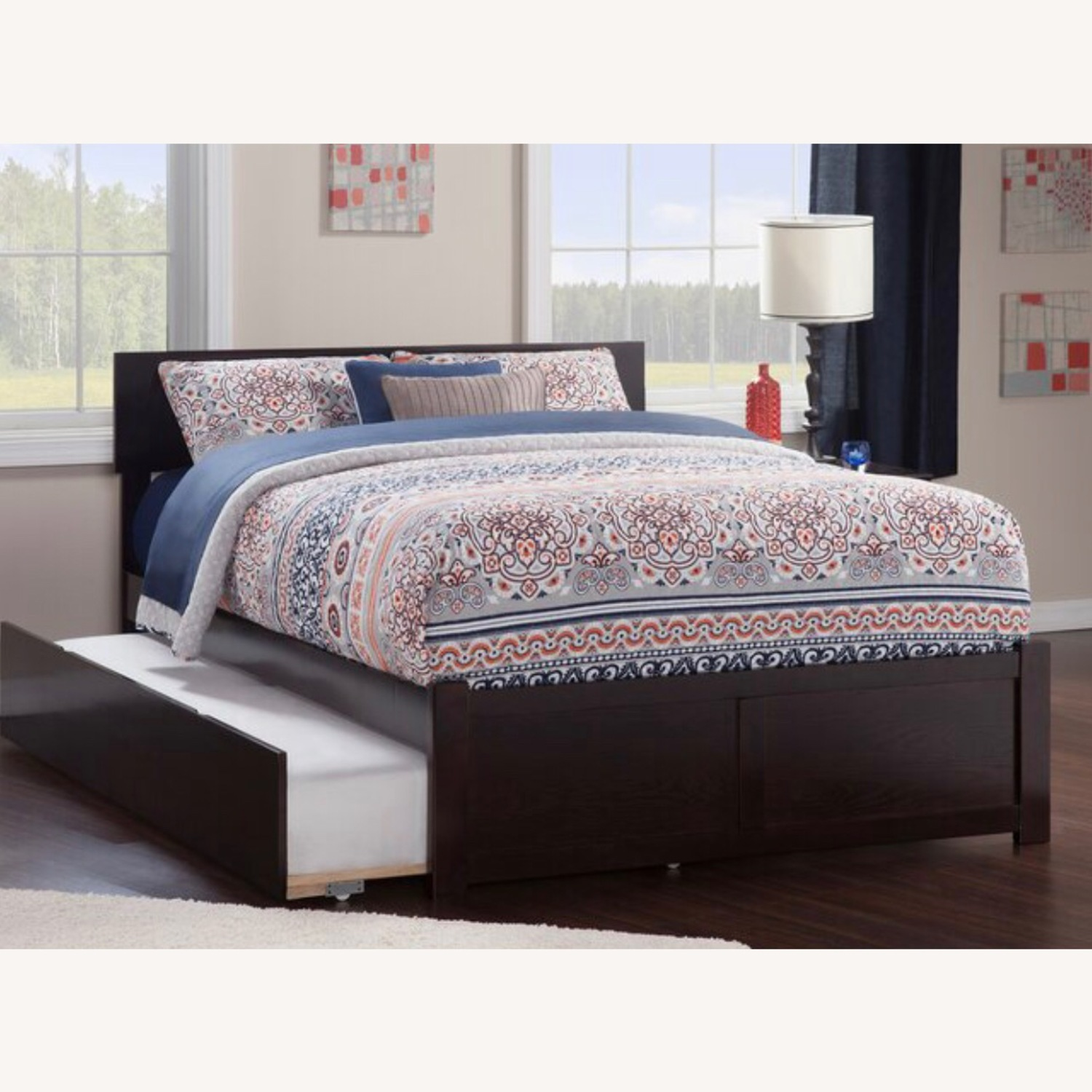Full size bed in ESPRESSO wood w/drawers or trundle - image-3