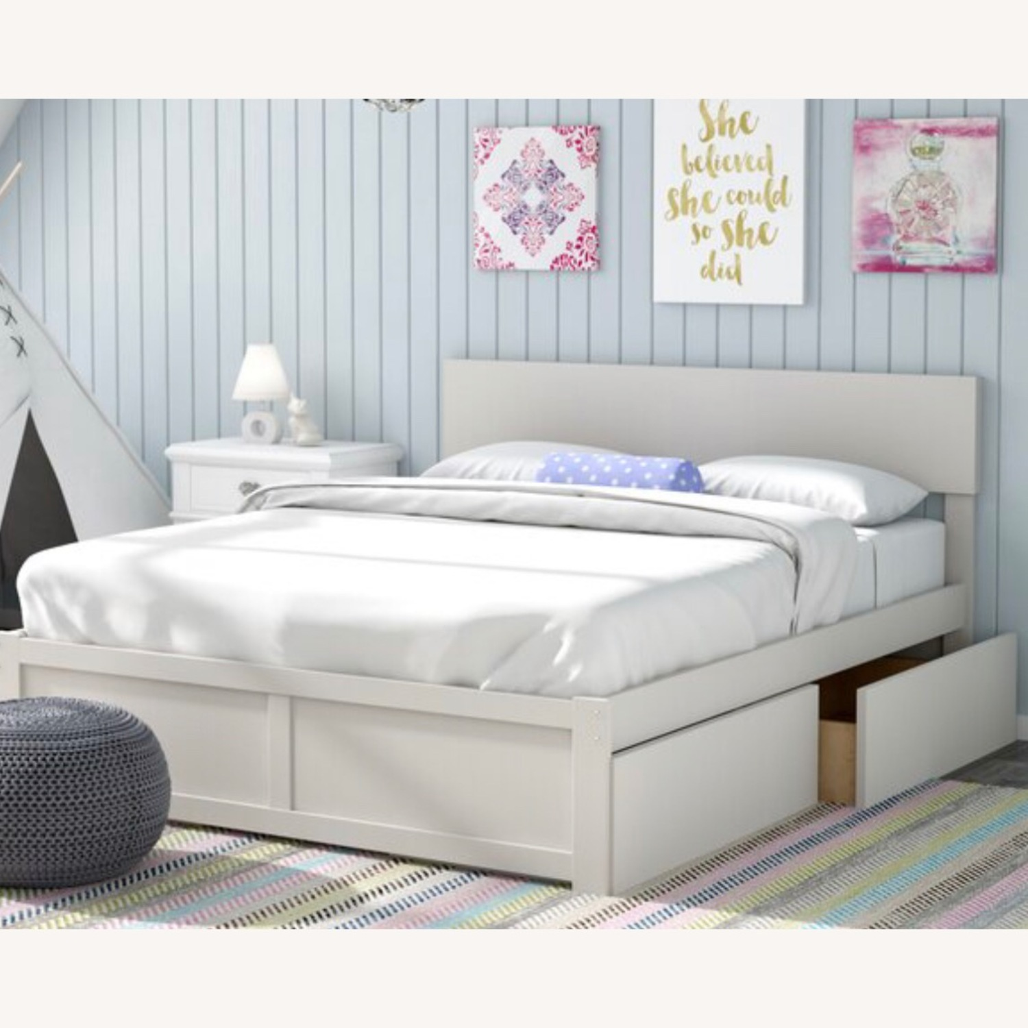 Full size bed in ESPRESSO wood w/drawers or trundle - image-2