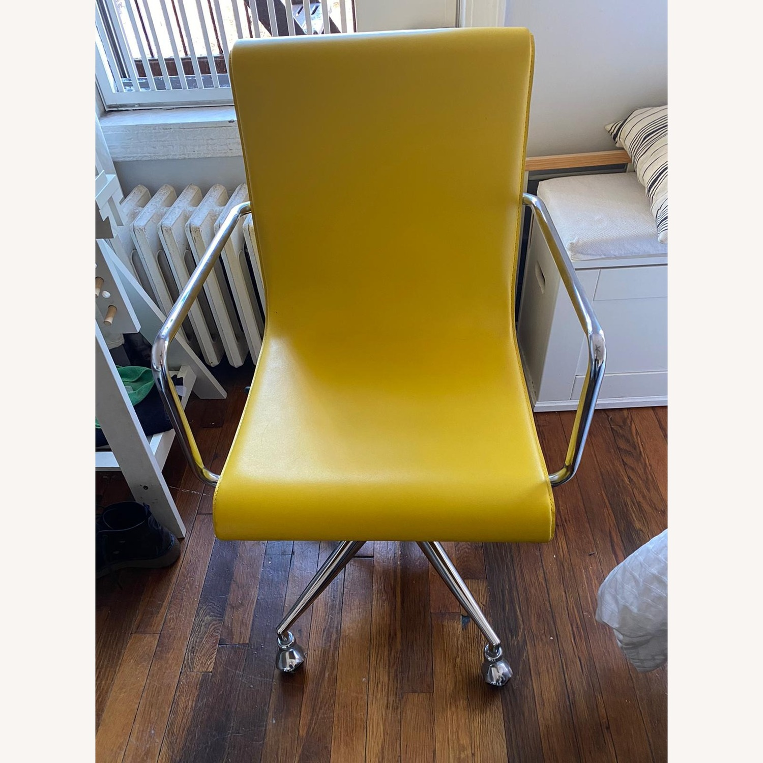 CB2 Chartreuse Leather Desk Chair