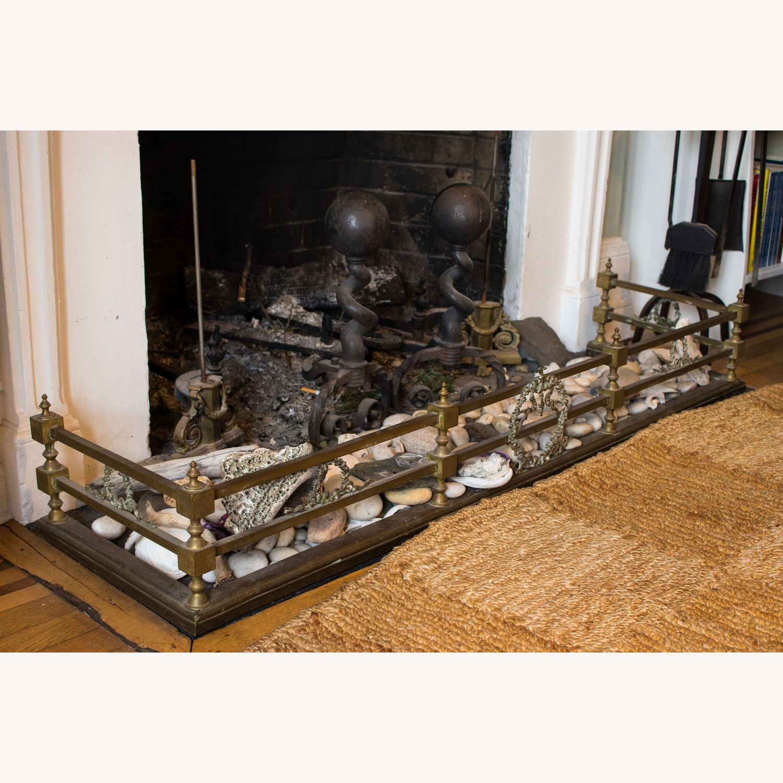 Vintage Brass 3-piece fireplace set: Fender & Andirons - image-4
