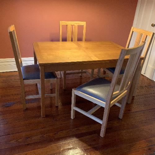 Used Scott Jordan oak chairs gray leather seats for sale on AptDeco